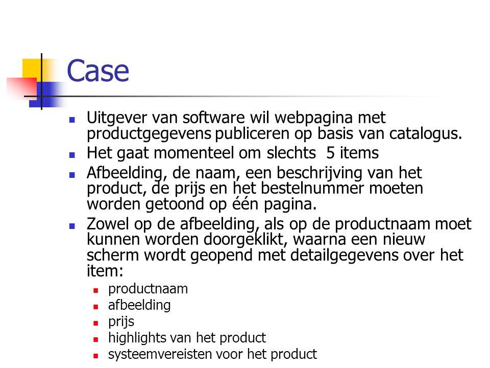 Uitleg: Arrays (associatief) (1) Sleutel wordt zelf bepaald door string te gebruiken Voorbeeld: $producten = array( 9789045630816 => Studio Webdesign , 9789045632063 => Plantenencyclopedie 2004 , 9789045632902 => PC Drukkerij 3 Suite , 9789045634814 => Creatief Fotolab , 9789045634838 => MovieJack DVD Pro ); $product[9789045630816] geeft dus Studio Webdesign