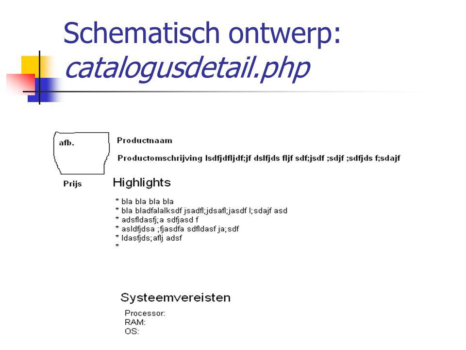 Opdracht: maak catalogus.php (1) Aanwijzingen: Open met een require(), waarin je de code van catalogus.inc.php opneemt in je script Sorteer vervolgens de array $producten oplopend Doorloop dan de array $producten van begin tot eind mbv foreach()