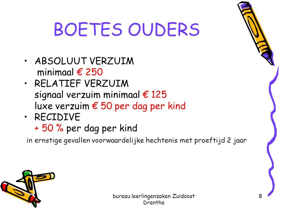 bureau leerlingenzaken Zuidoost Drenthe 8 BOETES OUDERS ABSOLUUT VERZUIM minimaal € 250 RELATIEF VERZUIM signaal verzuim minimaal € 125 luxe verzuim €