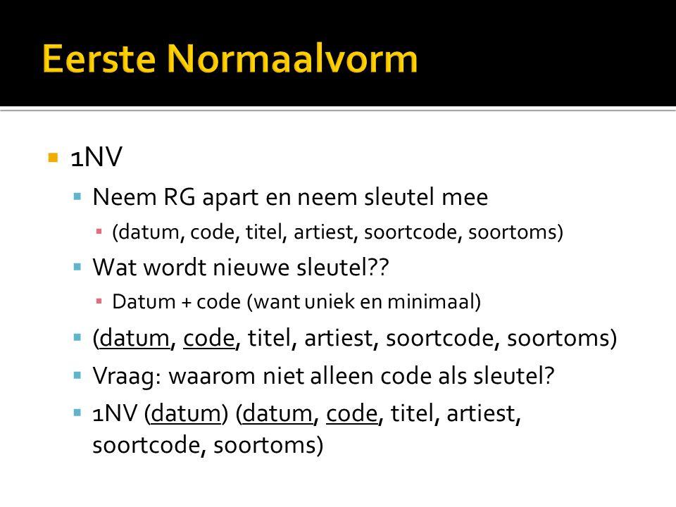  1NV  Neem RG apart en neem sleutel mee ▪ (datum, code, titel, artiest, soortcode, soortoms)  Wat wordt nieuwe sleutel .