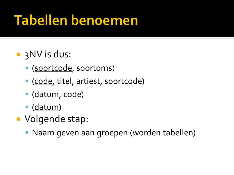  3NV is dus:  (soortcode, soortoms)  (code, titel, artiest, soortcode)  (datum, code)  (datum)  Volgende stap:  Naam geven aan groepen (worden tabellen)