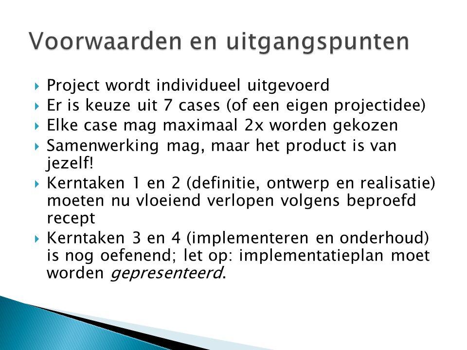  Project wordt individueel uitgevoerd  Er is keuze uit 7 cases (of een eigen projectidee)  Elke case mag maximaal 2x worden gekozen  Samenwerking