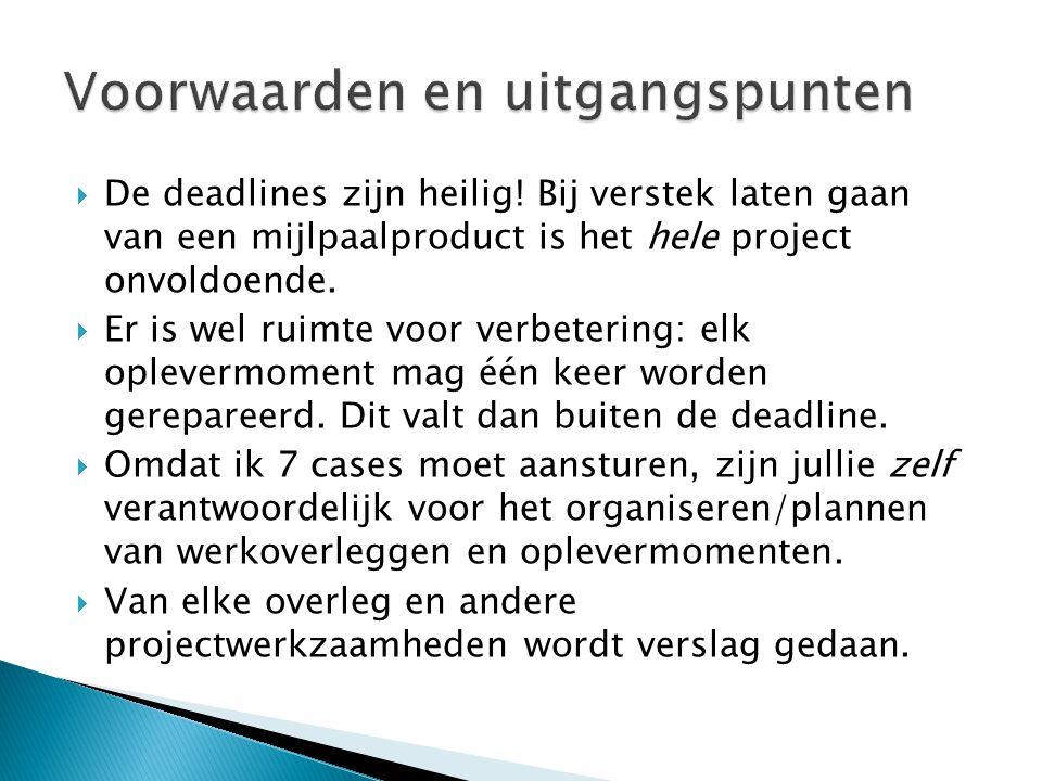  Opleveringen van documenten wordt altijd gedaan middels e-mail (e.seldenthuis@drenthecollege.nl)e.seldenthuis@drenthecollege.nl ◦ In betreft-regel duidelijk het product benoemen ◦ Bijlagen in doc, docx, of rar (NIET in odt!) ◦ Werk wordt door mij asap doorgenomen en van verbeterpunten voorzien; de gecorrigeerde producten worden per mail geretourneerd ◦ WACHT NIET OP UITSLAG.