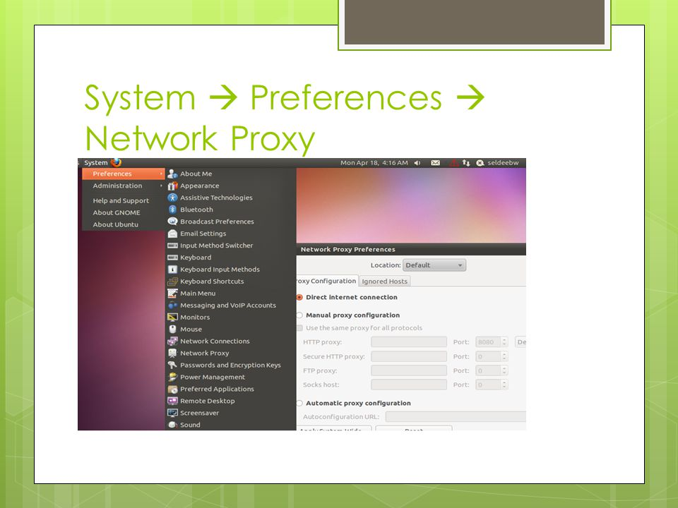 System  Preferences  Network Proxy