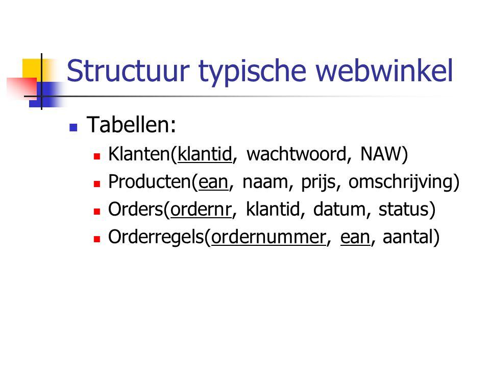 Structuur typische webwinkel Tabellen: Klanten(klantid, wachtwoord, NAW) Producten(ean, naam, prijs, omschrijving) Orders(ordernr, klantid, datum, status) Orderregels(ordernummer, ean, aantal)