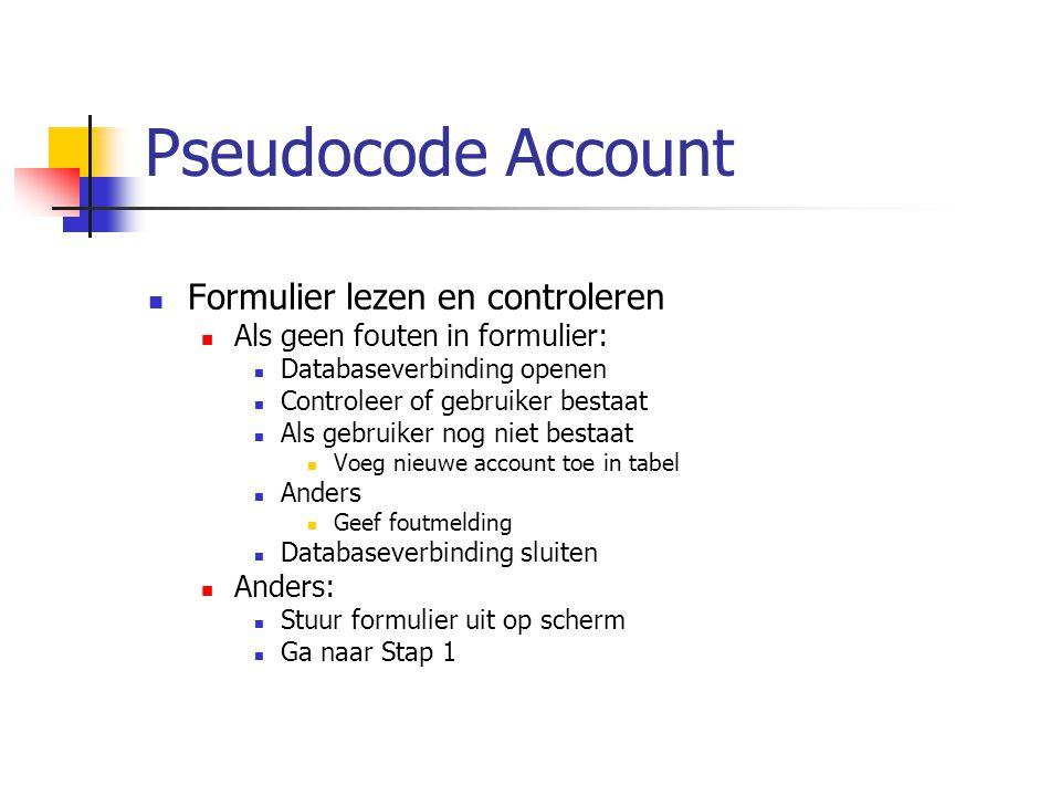 Pseudocode Account Formulier lezen en controleren Als geen fouten in formulier: Databaseverbinding openen Controleer of gebruiker bestaat Als gebruiker nog niet bestaat Voeg nieuwe account toe in tabel Anders Geef foutmelding Databaseverbinding sluiten Anders: Stuur formulier uit op scherm Ga naar Stap 1
