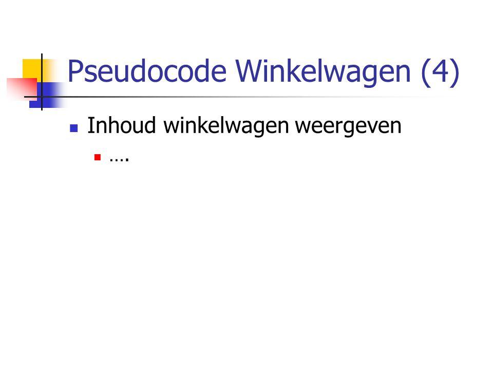 Pseudocode Winkelwagen (4) Inhoud winkelwagen weergeven ….