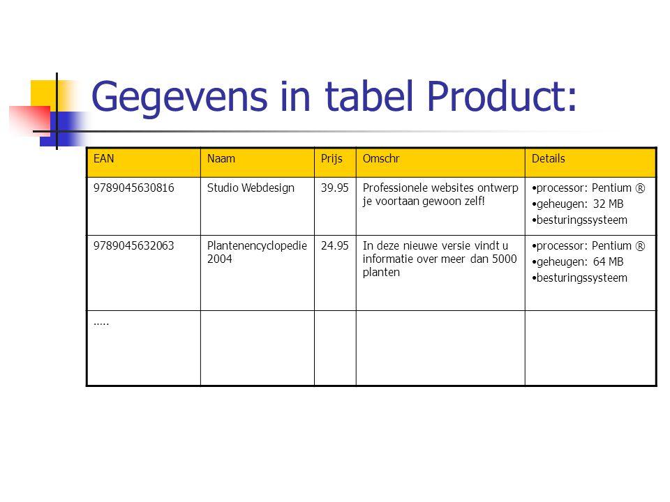 Gegevens in tabel Product: EANNaamPrijsOmschrDetails 9789045630816Studio Webdesign39.95Professionele websites ontwerp je voortaan gewoon zelf.