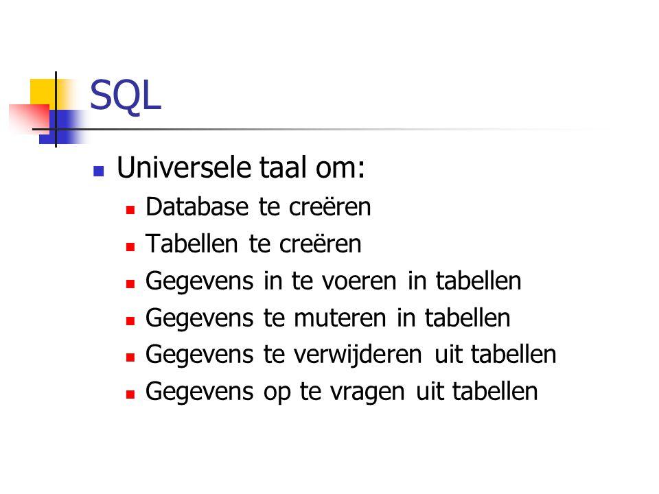 SQL Universele taal om: Database te creëren Tabellen te creëren Gegevens in te voeren in tabellen Gegevens te muteren in tabellen Gegevens te verwijderen uit tabellen Gegevens op te vragen uit tabellen