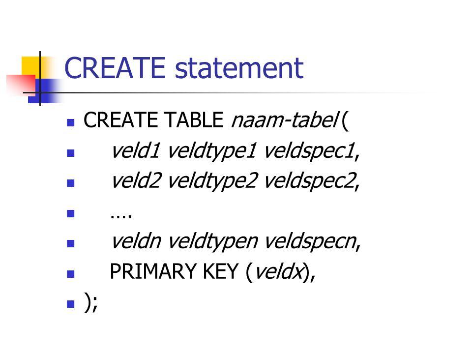 CREATE statement CREATE TABLE naam-tabel ( veld1 veldtype1 veldspec1, veld2 veldtype2 veldspec2, ….