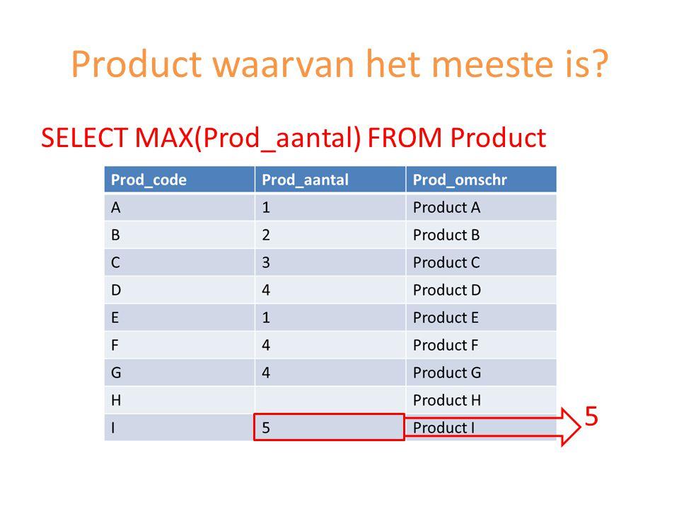 Product waarvan het meeste is? SELECT MAX(Prod_aantal) FROM Product 5