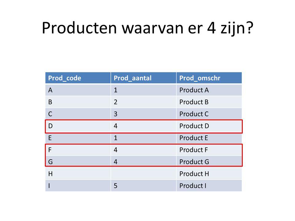 Producten waarvan er 4 zijn?