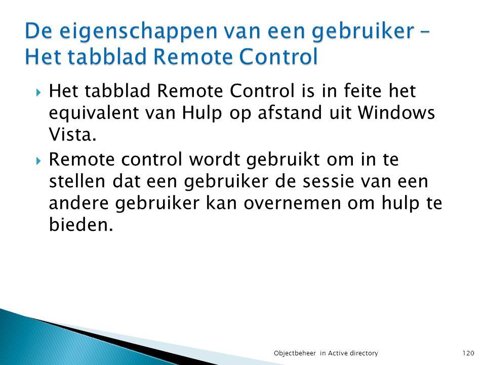  Het tabblad Remote Control is in feite het equivalent van Hulp op afstand uit Windows Vista.  Remote control wordt gebruikt om in te stellen dat ee