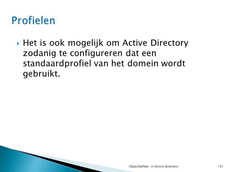  Het is ook mogelijk om Active Directory zodanig te configureren dat een standaardprofiel van het domein wordt gebruikt. 131Objectbeheer in Active di