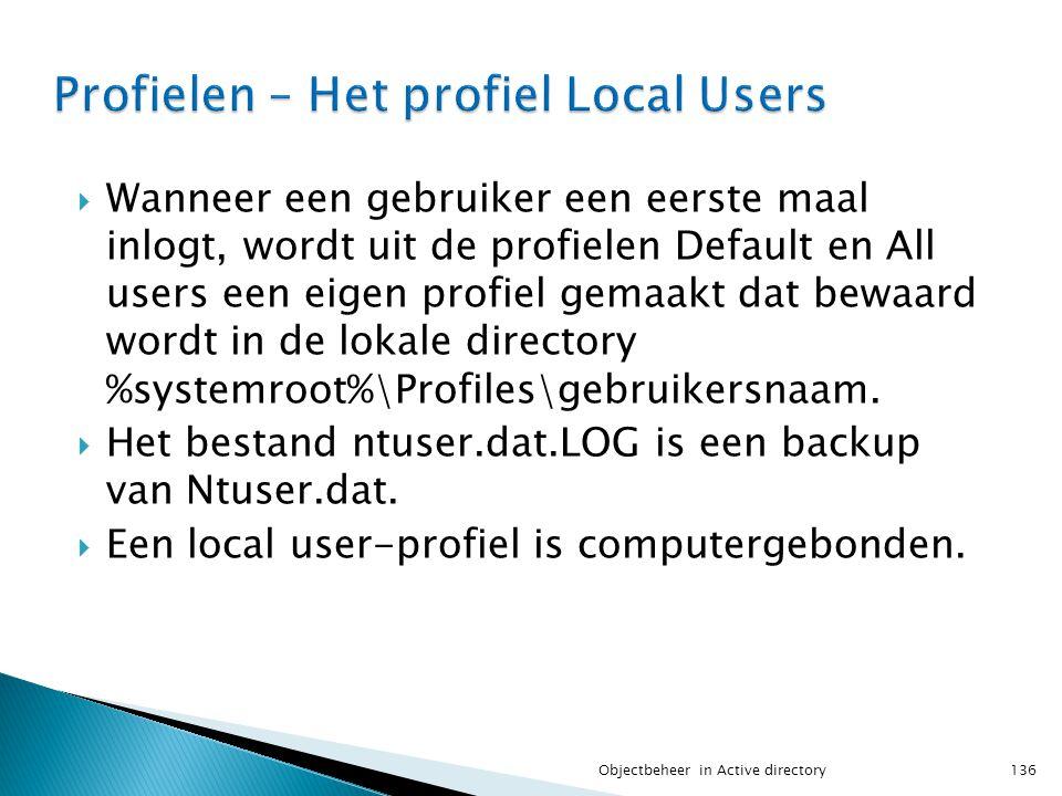  Wanneer een gebruiker een eerste maal inlogt, wordt uit de profielen Default en All users een eigen profiel gemaakt dat bewaard wordt in de lokale d