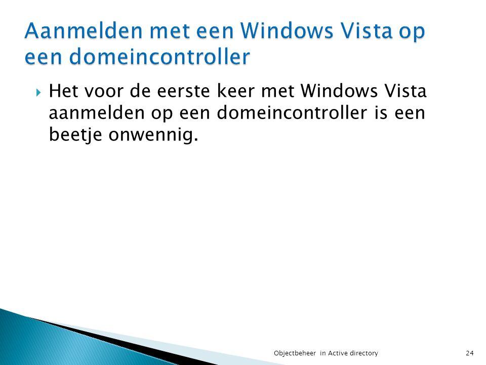  Het voor de eerste keer met Windows Vista aanmelden op een domeincontroller is een beetje onwennig. 24Objectbeheer in Active directory