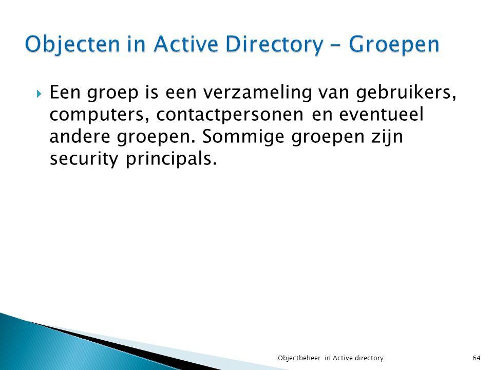  Een groep is een verzameling van gebruikers, computers, contactpersonen en eventueel andere groepen. Sommige groepen zijn security principals. 64Obj
