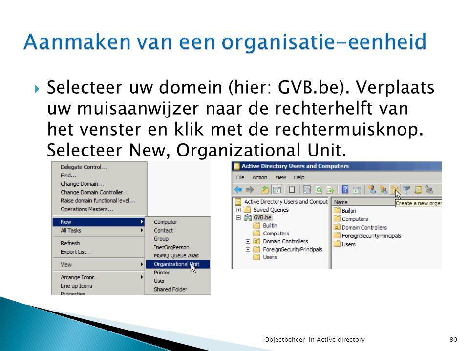 Selecteer uw domein (hier: GVB.be). Verplaats uw muisaanwijzer naar de rechterhelft van het venster en klik met de rechtermuisknop. Selecteer New, O