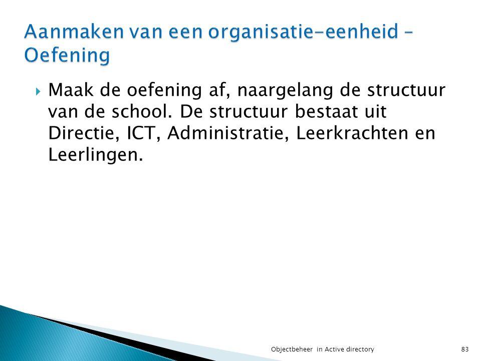  Maak de oefening af, naargelang de structuur van de school. De structuur bestaat uit Directie, ICT, Administratie, Leerkrachten en Leerlingen. 83Obj