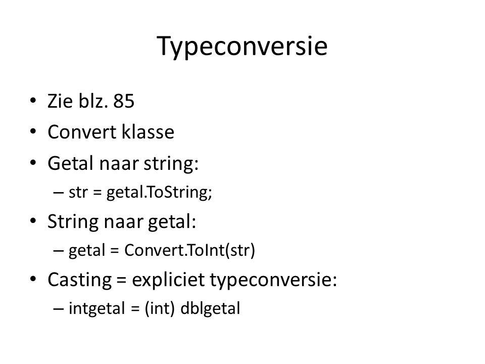 Typeconversie Zie blz.