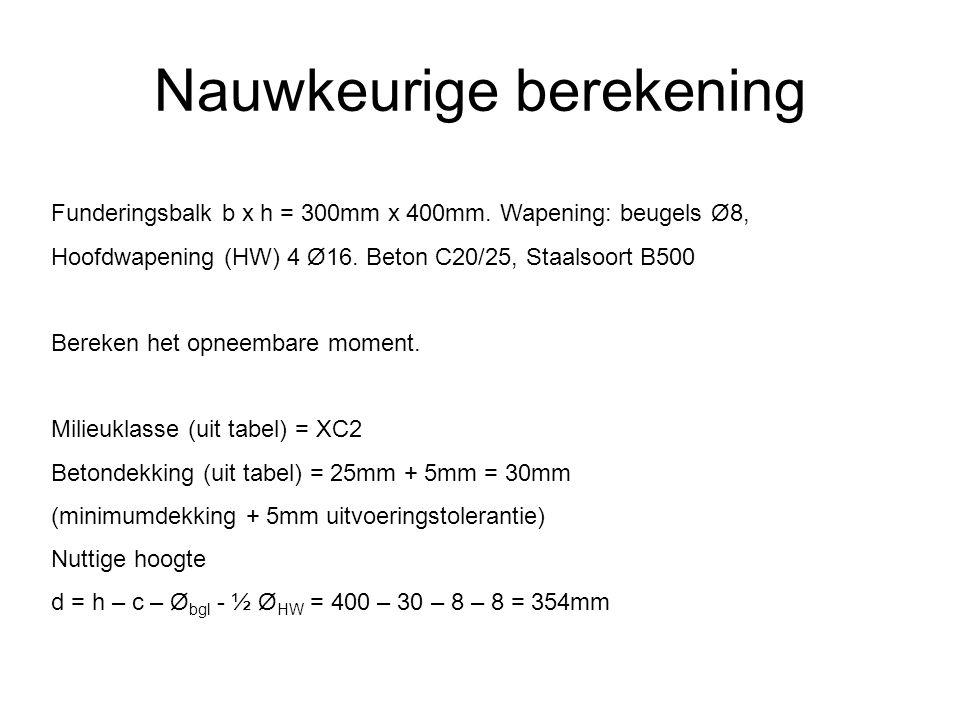 Nauwkeurige berekening Funderingsbalk b x h = 300mm x 400mm. Wapening: beugels Ø8, Hoofdwapening (HW) 4 Ø16. Beton C20/25, Staalsoort B500 Bereken het