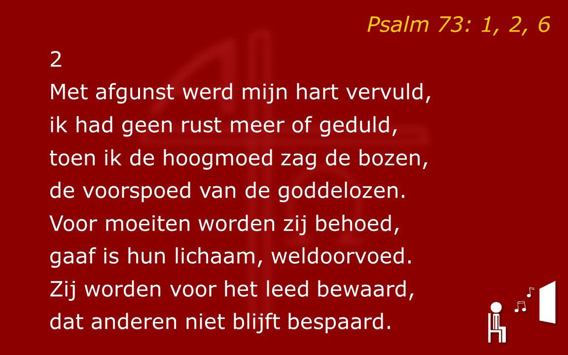2 Met afgunst werd mijn hart vervuld, ik had geen rust meer of geduld, toen ik de hoogmoed zag de bozen, de voorspoed van de goddelozen.