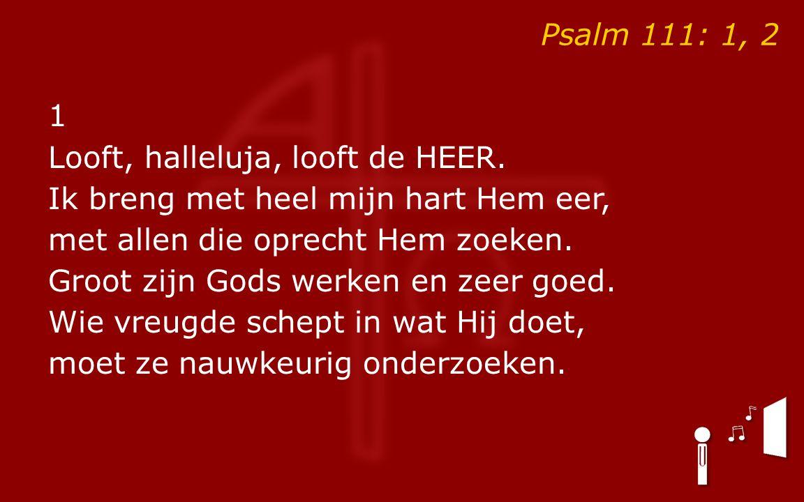 Psalm 111: 1, 2 1 Looft, halleluja, looft de HEER.