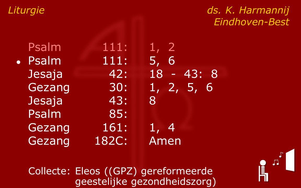 Psalm111:1, 2 ● Psalm111:5, 6 Jesaja42:18 - 43: 8 Gezang30:1, 2, 5, 6 Jesaja43:8 Psalm85: Gezang161:1, 4 Gezang182C:Amen Liturgie ds.
