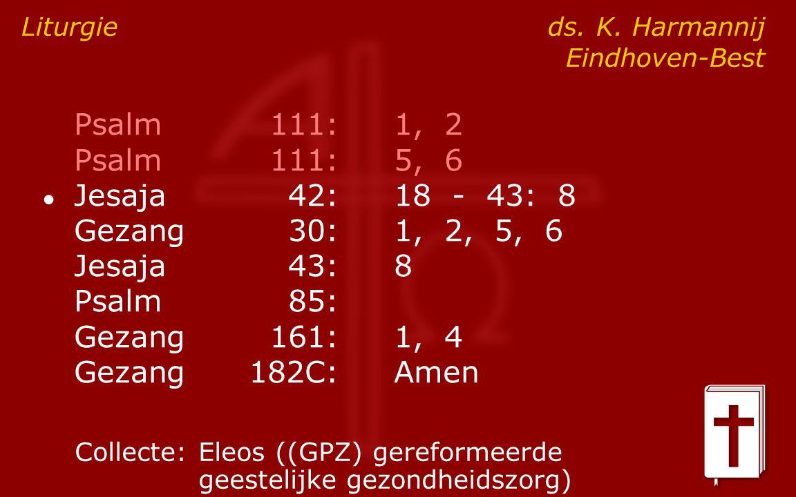 Psalm111:1, 2 Psalm111:5, 6 ● Jesaja42:18 - 43: 8 Gezang30:1, 2, 5, 6 Jesaja43:8 Psalm85: Gezang161:1, 4 Gezang182C:Amen Liturgie ds.