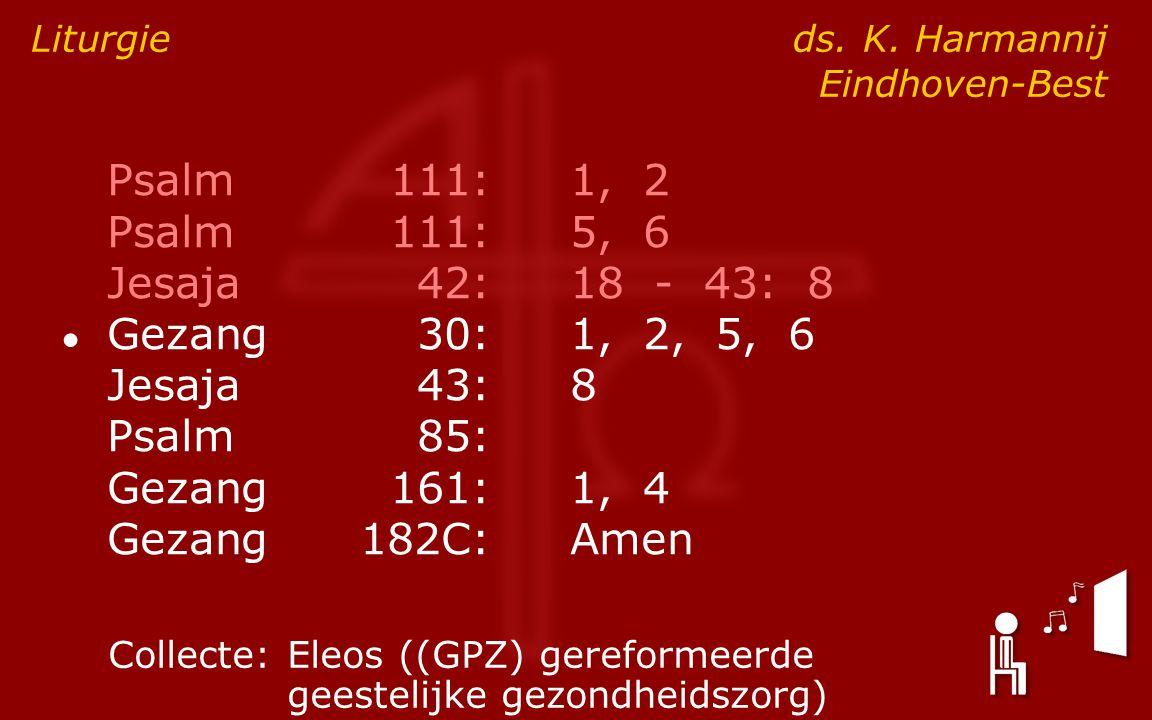 Psalm111:1, 2 Psalm111:5, 6 Jesaja42:18 - 43: 8 ● Gezang30:1, 2, 5, 6 Jesaja43:8 Psalm85: Gezang161:1, 4 Gezang182C:Amen Liturgie ds.