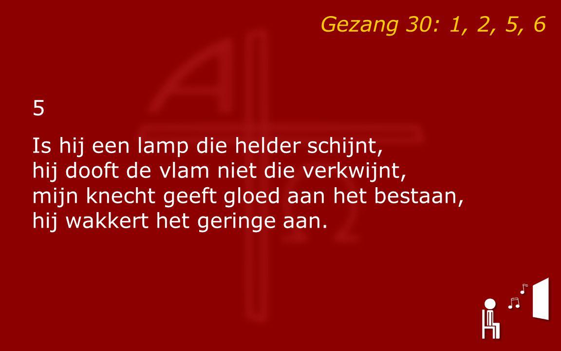 Gezang 30: 1, 2, 5, 6 5 Is hij een lamp die helder schijnt, hij dooft de vlam niet die verkwijnt, mijn knecht geeft gloed aan het bestaan, hij wakkert het geringe aan.