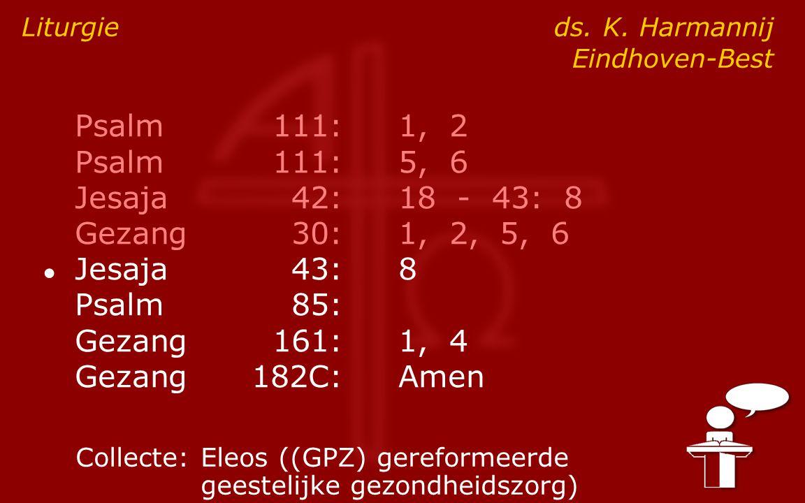 Psalm111:1, 2 Psalm111:5, 6 Jesaja42:18 - 43: 8 Gezang30:1, 2, 5, 6 ● Jesaja43:8 Psalm85: Gezang161:1, 4 Gezang182C:Amen Liturgie ds.