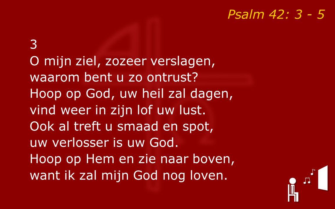 Psalm 42: 3 - 5 3 O mijn ziel, zozeer verslagen, waarom bent u zo ontrust? Hoop op God, uw heil zal dagen, vind weer in zijn lof uw lust. Ook al treft