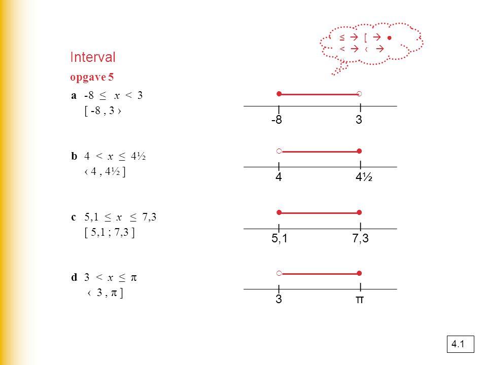 Interval a-8 ≤ x < 3 [ -8, 3 › b4 < x ≤ 4½ ‹ 4, 4½ ] c5,1 ≤ x ≤ 7,3 [ 5,1 ; 7,3 ] d3 < x ≤ π ‹ 3, π ] -83 l l ○● 44½4½ l l ○● 5,17,3 l l ● 3π l l ○● ≤