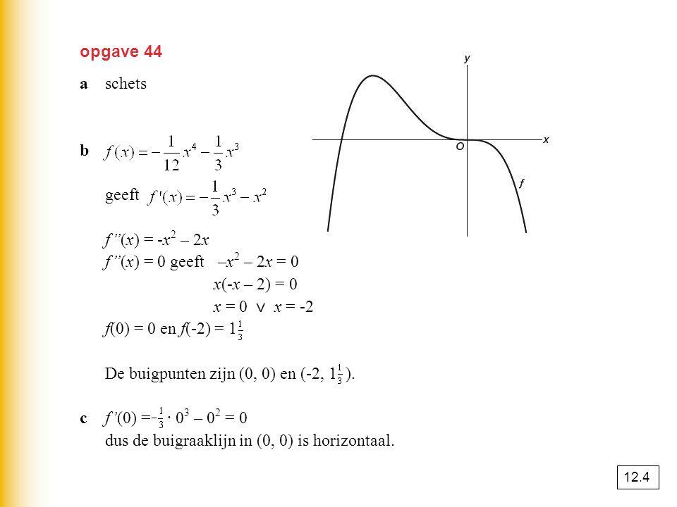 opgave 44 aschets b geeft f''(x) = -x 2 – 2x f''(x) = 0 geeft –x 2 – 2x = 0 x(-x – 2) = 0 x = 0 ⋁ x = -2 f(0) = 0 en f(-2) = 1 De buigpunten zijn (0,