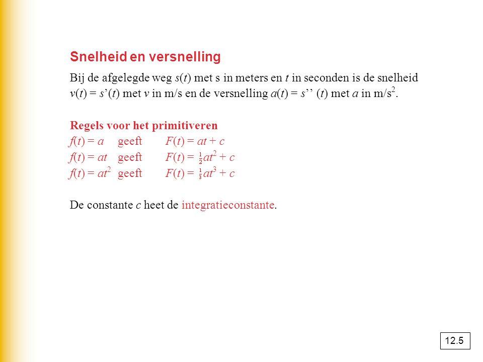 Snelheid en versnelling Bij de afgelegde weg s(t) met s in meters en t in seconden is de snelheid v(t) = s'(t) met v in m/s en de versnelling a(t) = s