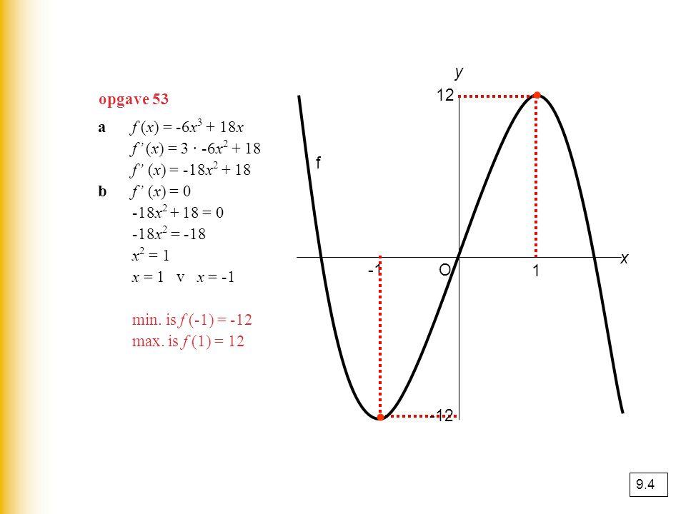 opgave 53 af (x) = -6x 3 + 18x f' (x) = 3 · -6x 2 + 18 f' (x) = -18x 2 + 18 bf' (x) = 0 -18x 2 + 18 = 0 -18x 2 = -18 x 2 = 1 x = 1 v x = -1 min. is f