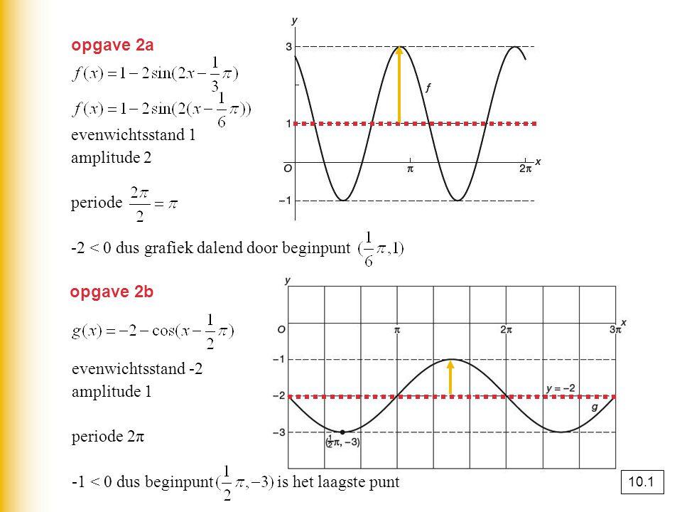opgave 2a evenwichtsstand 1 amplitude 2 periode -2 < 0 dus grafiek dalend door beginpunt opgave 2b evenwichtsstand -2 amplitude 1 periode 2π -1 < 0 dus beginpunt is het laagste punt 10.1