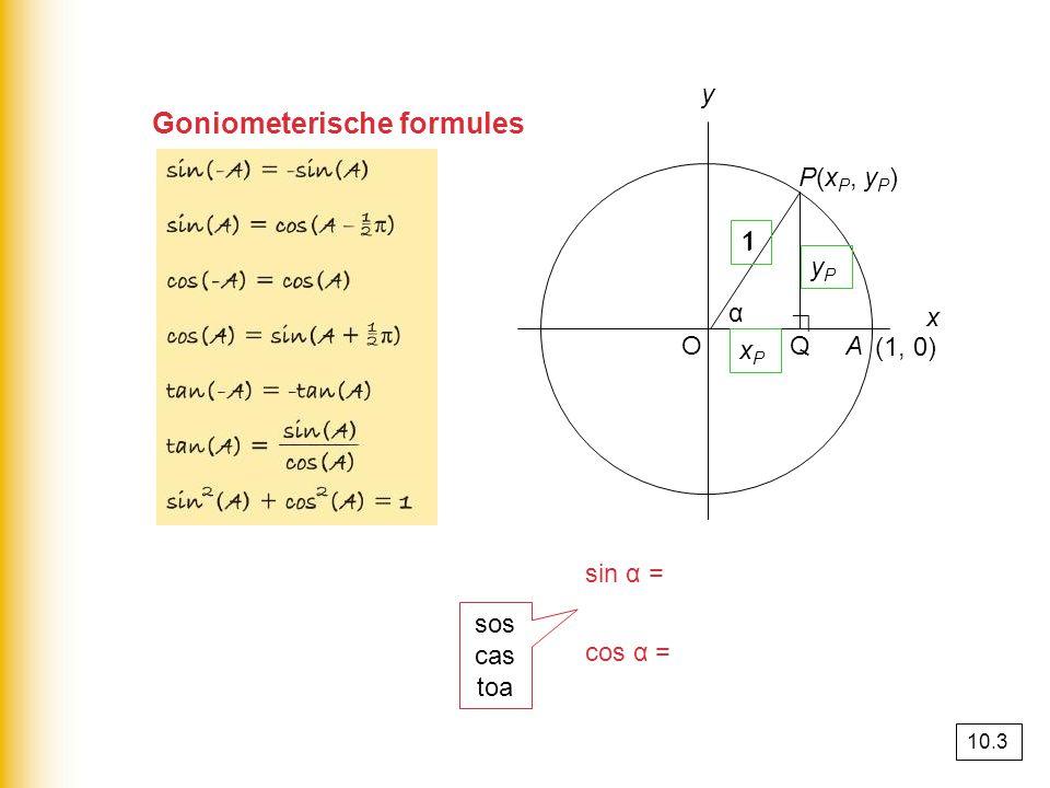 Goniometerische formules sin α = = = y P cos α = = = x P PQ OP y P 1 OQ OP x P 1 O (1, 0) y x A α P(x P, y P ) 1 Q ∟ sos cas toa xPxP yPyP 1 10.3