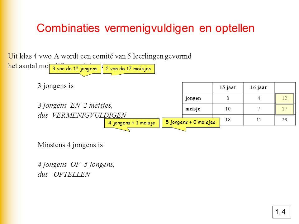 Combinaties vermenigvuldigen en optellen Uit klas 4 vwo A wordt een comité van 5 leerlingen gevormd het aantal mogelijke comités met 3 jongens is x =