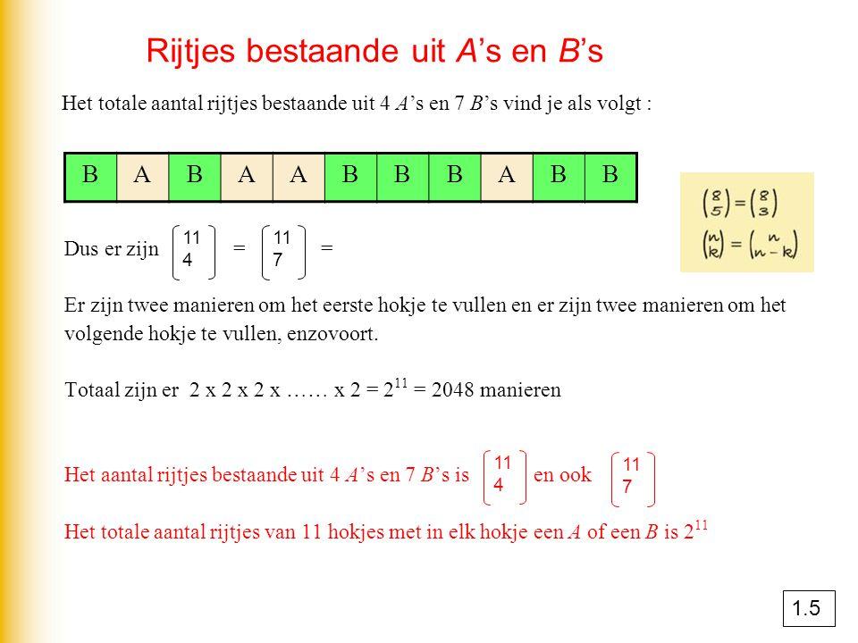 Rijtjes bestaande uit A's en B's Dus er zijn = = 165 manieren Er zijn twee manieren om het eerste hokje te vullen en er zijn twee manieren om het volg