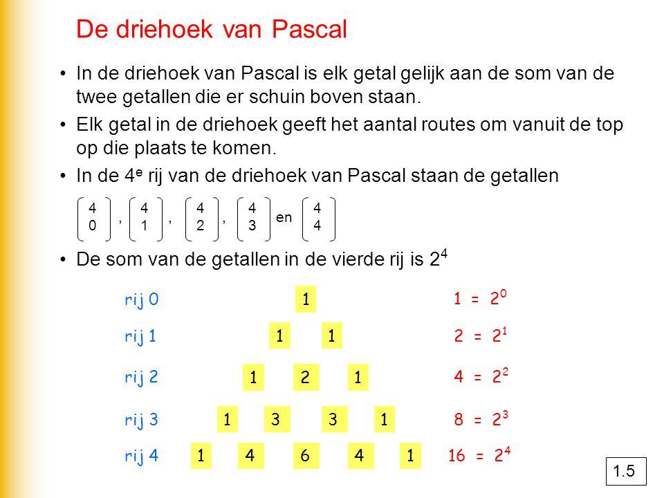 De driehoek van Pascal In de driehoek van Pascal is elk getal gelijk aan de som van de twee getallen die er schuin boven staan. Elk getal in de drieho