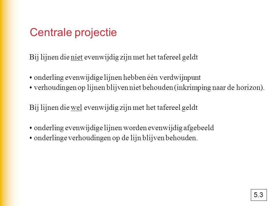 Centrale projectie Bij lijnen die niet evenwijdig zijn met het tafereel geldt onderling evenwijdige lijnen hebben één verdwijnpunt verhoudingen op lij