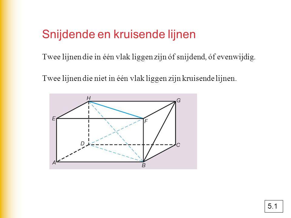 Snijdende en kruisende lijnen Twee lijnen die in één vlak liggen zijn óf snijdend, óf evenwijdig. Twee lijnen die niet in één vlak liggen zijn kruisen