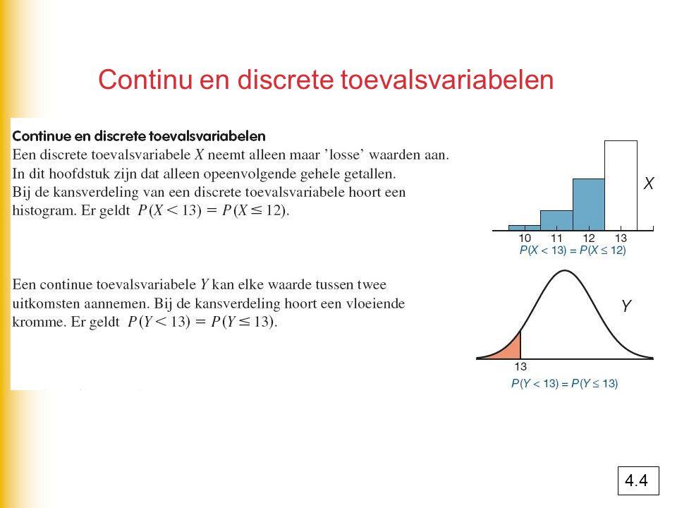 Continu en discrete toevalsvariabelen 4.4