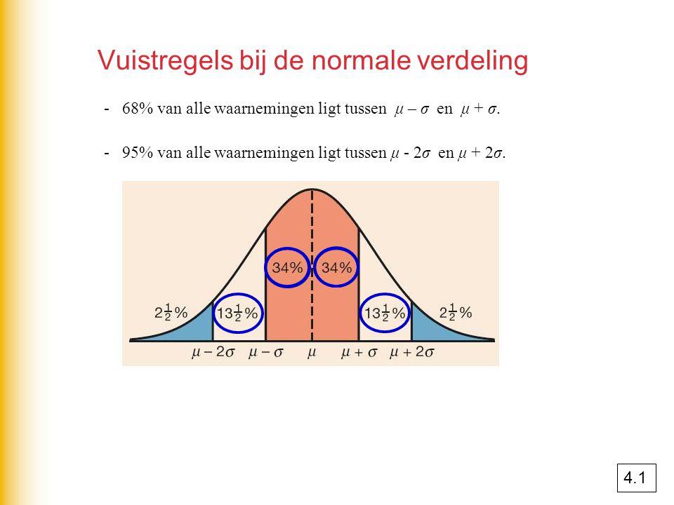 Vuistregels bij de normale verdeling - 68% van alle waarnemingen ligt tussen μ – σ en μ + σ. - 95% van alle waarnemingen ligt tussen μ - 2σ en μ + 2σ.