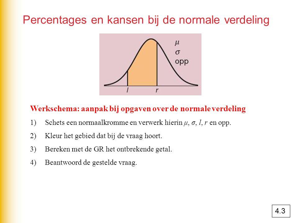 Percentages en kansen bij de normale verdeling Werkschema: aanpak bij opgaven over de normale verdeling 1)Schets een normaalkromme en verwerk hierin μ