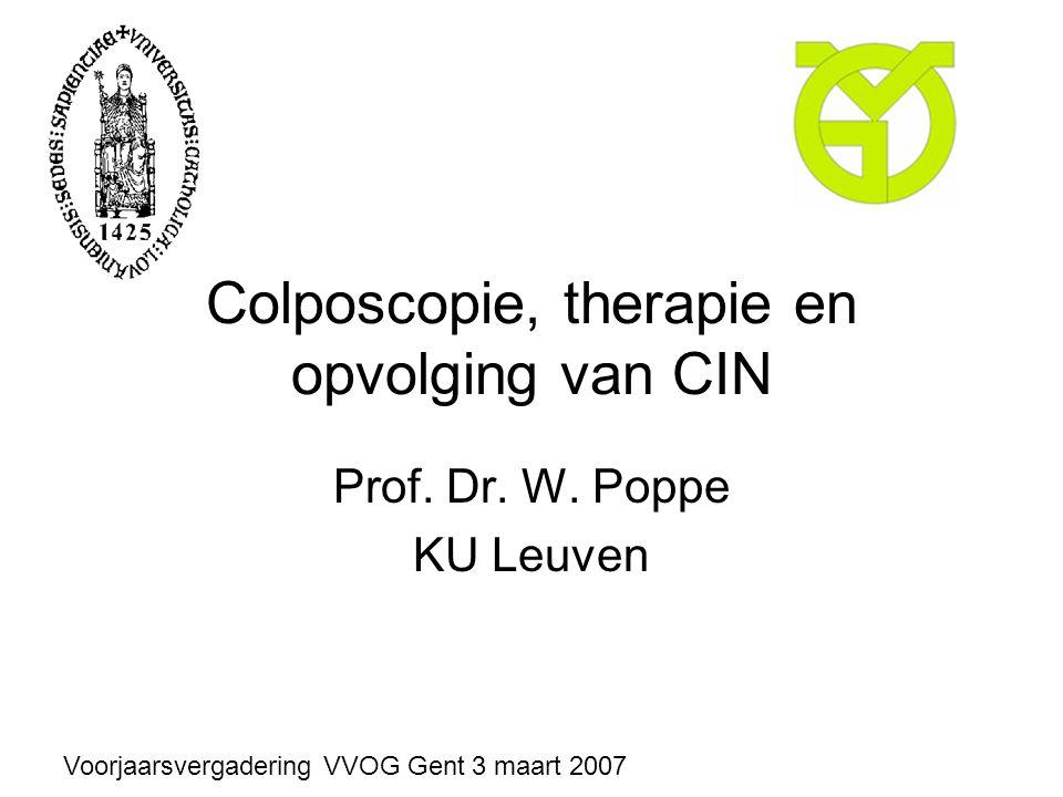 Colposcopie, therapie en opvolging van CIN Prof. Dr. W. Poppe KU Leuven Voorjaarsvergadering VVOG Gent 3 maart 2007