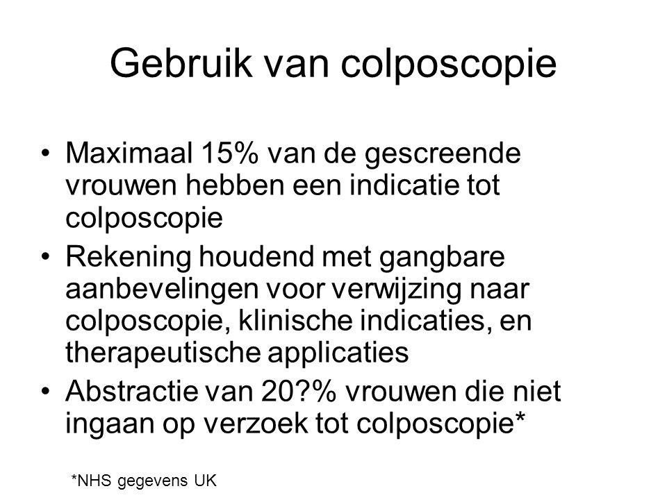 Gebruik van colposcopie Maximaal 15% van de gescreende vrouwen hebben een indicatie tot colposcopie Rekening houdend met gangbare aanbevelingen voor v