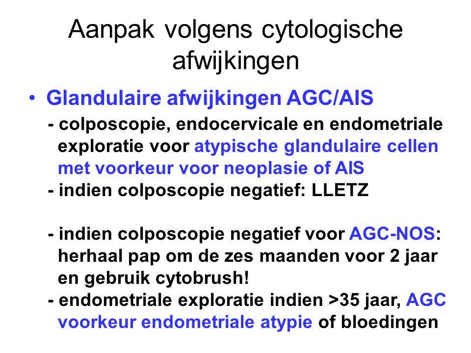 Aanpak volgens cytologische afwijkingen Glandulaire afwijkingen AGC/AIS - colposcopie, endocervicale en endometriale exploratie voor atypische glandul